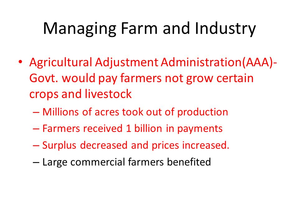 Managing Farm and Industry