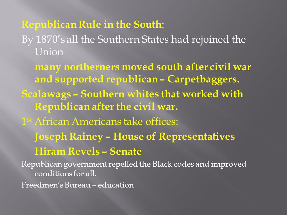 Republican Rule in the South: