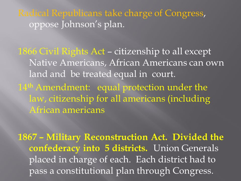 Radical Republicans take charge of Congress, oppose Johnson's plan