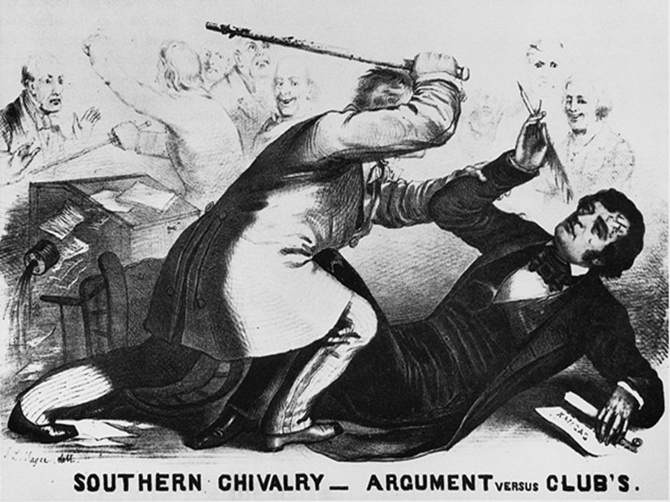 Violence on the senate floor senator Charles Sumner beaten.