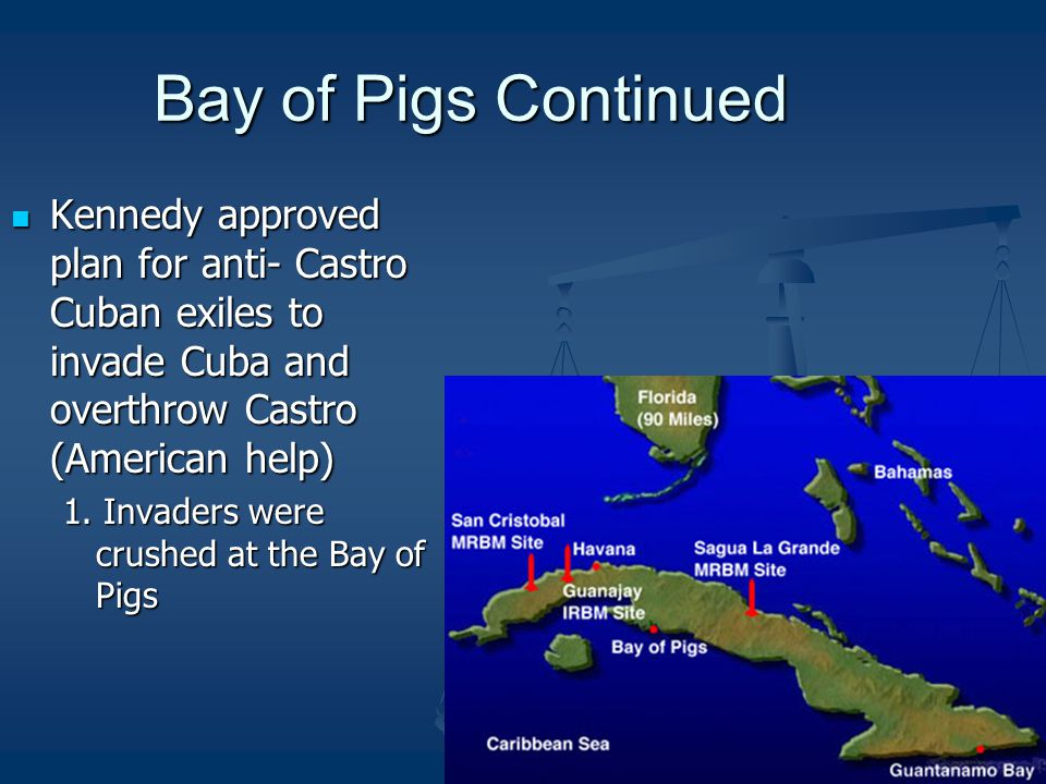 Bay of Pigs Continued Kennedy approved plan for anti- Castro Cuban exiles to invade Cuba and overthrow Castro (American help)