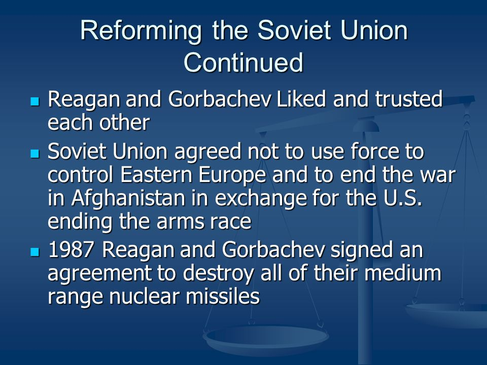 Reforming the Soviet Union Continued