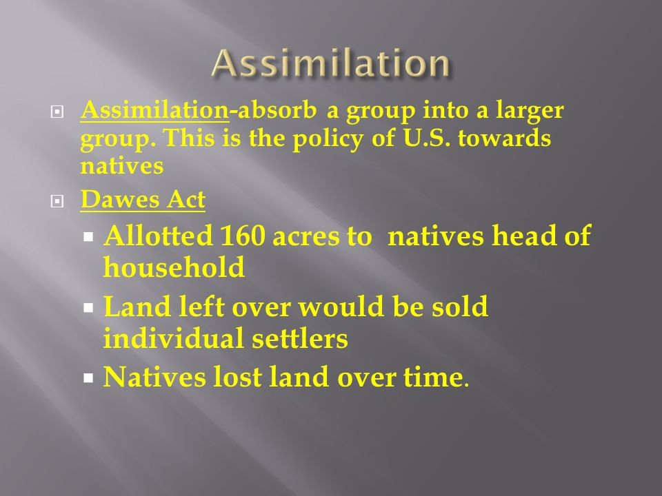 Assimilation Allotted 160 acres to natives head of household