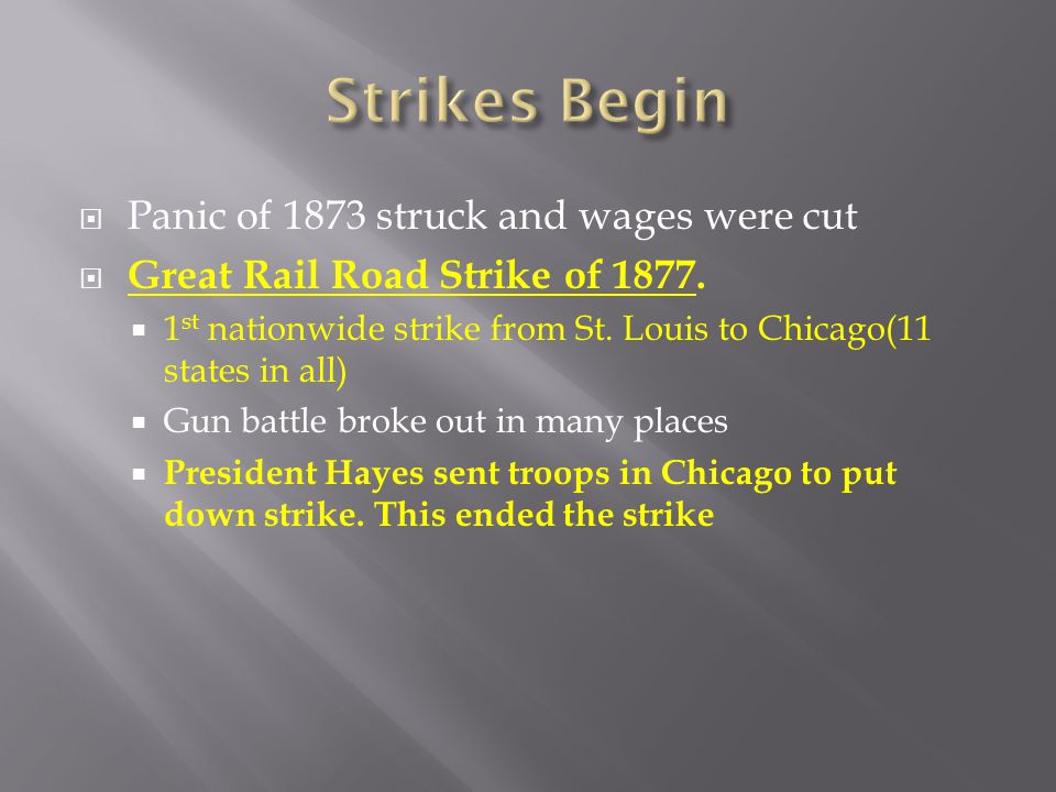 Strikes Begin Panic of 1873 struck and wages were cut