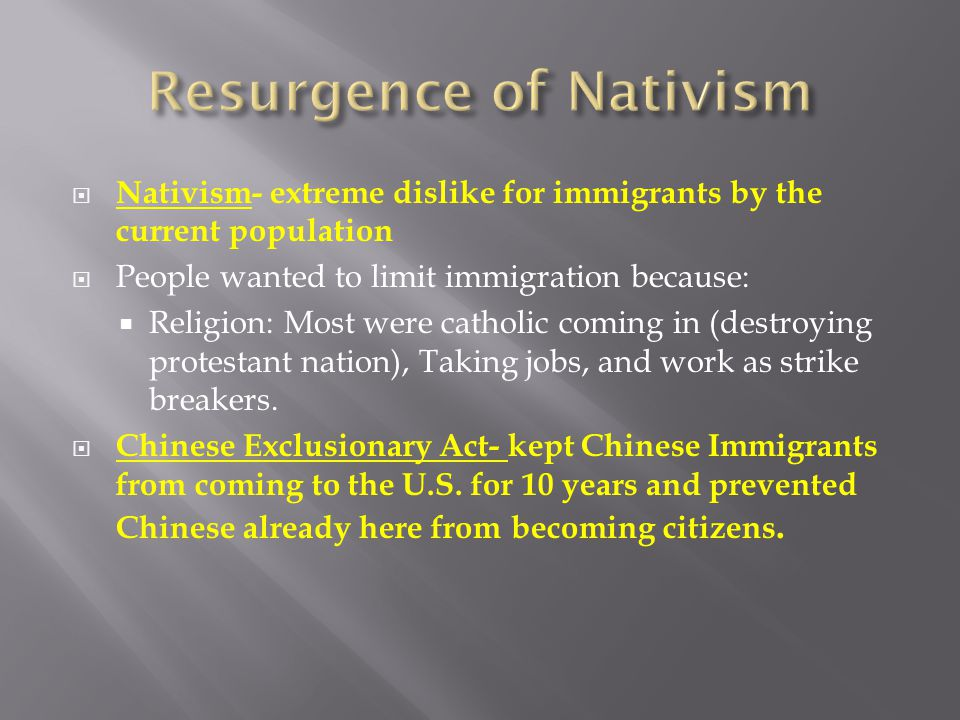 Resurgence of Nativism