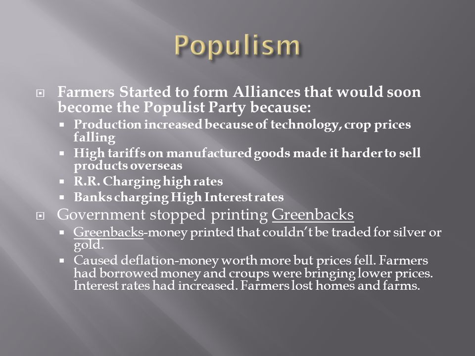 Populism Farmers Started to form Alliances that would soon become the Populist Party because: