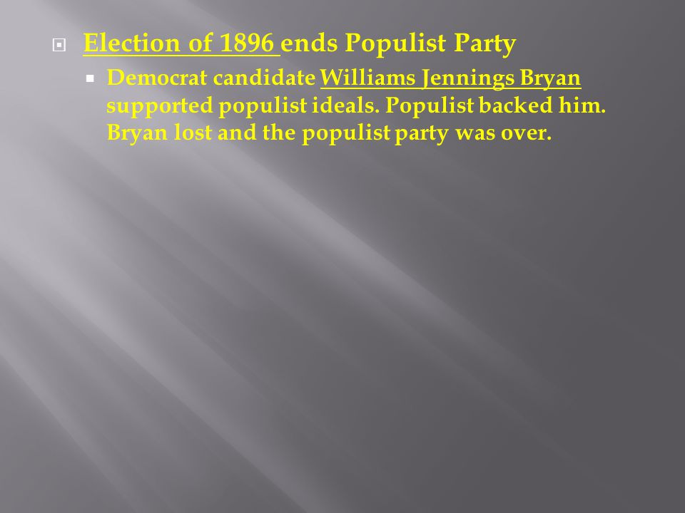 Election of 1896 ends Populist Party