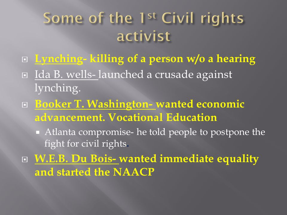 Some of the 1st Civil rights activist