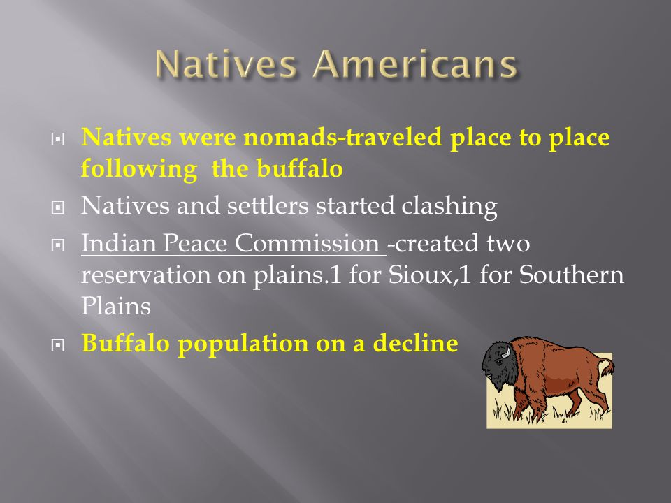 Natives Americans Natives were nomads-traveled place to place following the buffalo. Natives and settlers started clashing.
