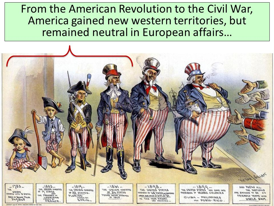 From the American Revolution to the Civil War, America gained new western territories, but remained neutral in European affairs…