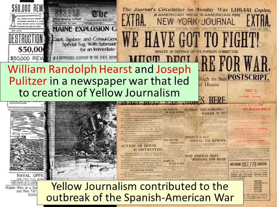William Randolph Hearst and Joseph Pulitzer in a newspaper war that led to creation of Yellow Journalism