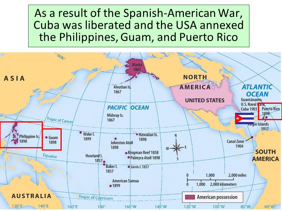 As a result of the Spanish-American War, Cuba was liberated and the USA annexed the Philippines, Guam, and Puerto Rico