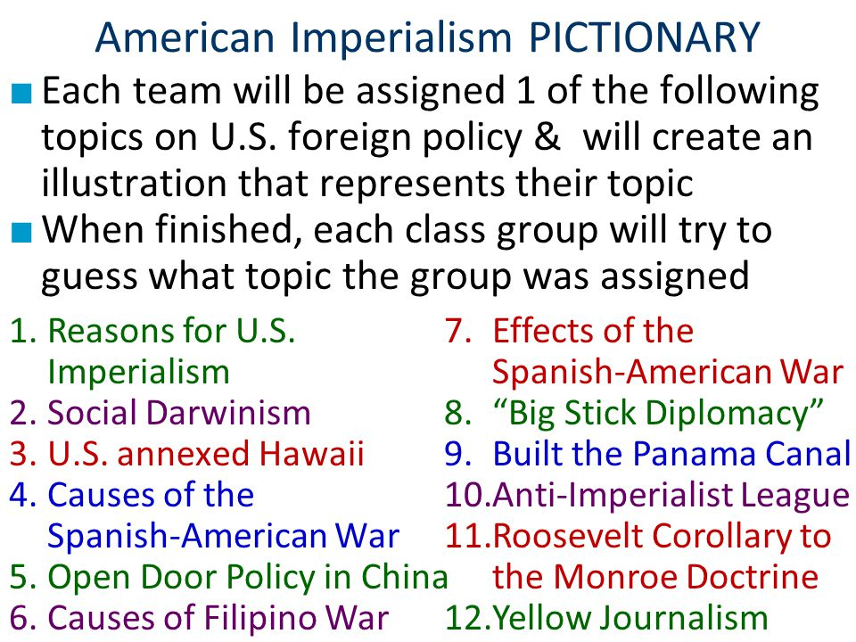 American Imperialism PICTIONARY