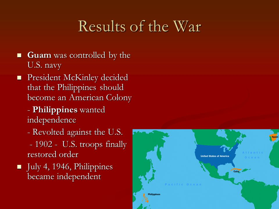 Results of the War Guam was controlled by the U.S. navy