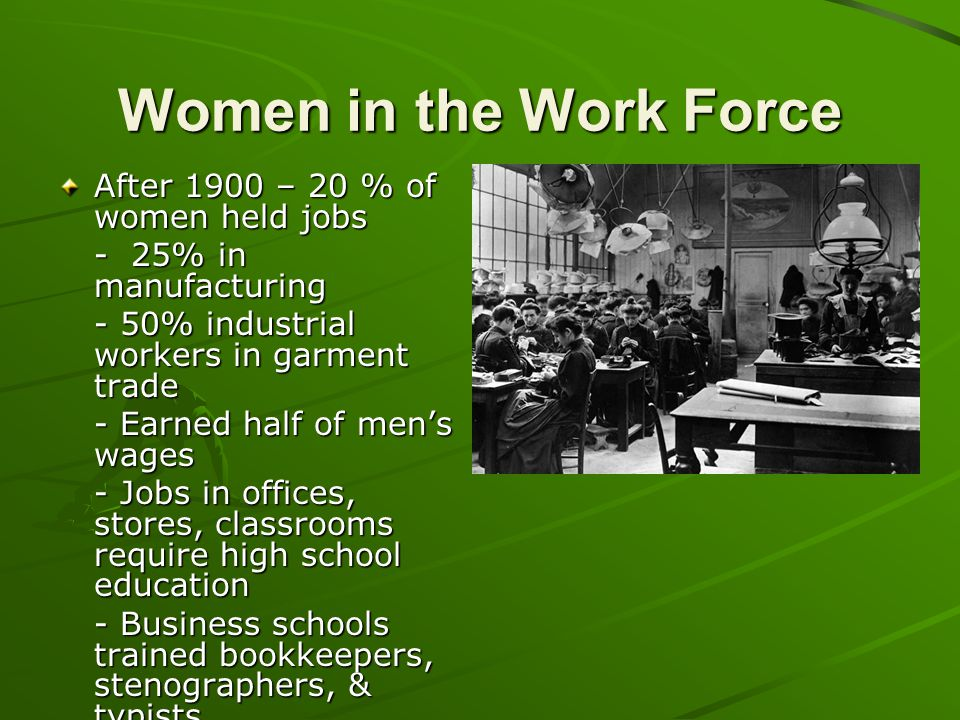 Women in the Work Force After 1900 – 20 % of women held jobs