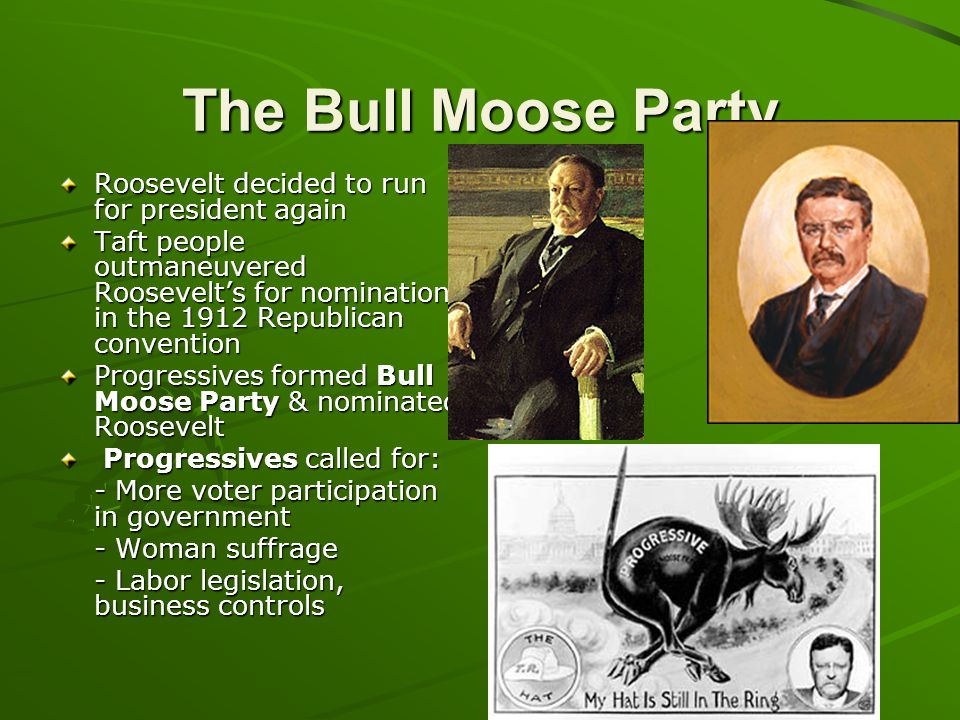 The Bull Moose Party Roosevelt decided to run for president again