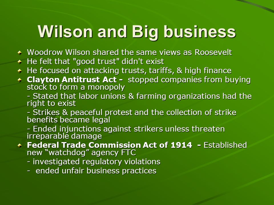 Wilson and Big business