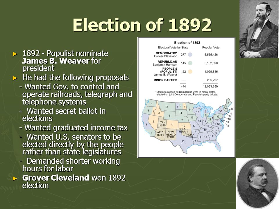 Election of 1892 1892 - Populist nominate James B. Weaver for president. He had the following proposals.