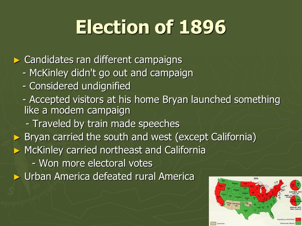Election of 1896 Candidates ran different campaigns
