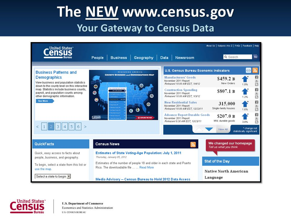 The NEW www.census.gov Your Gateway to Census Data