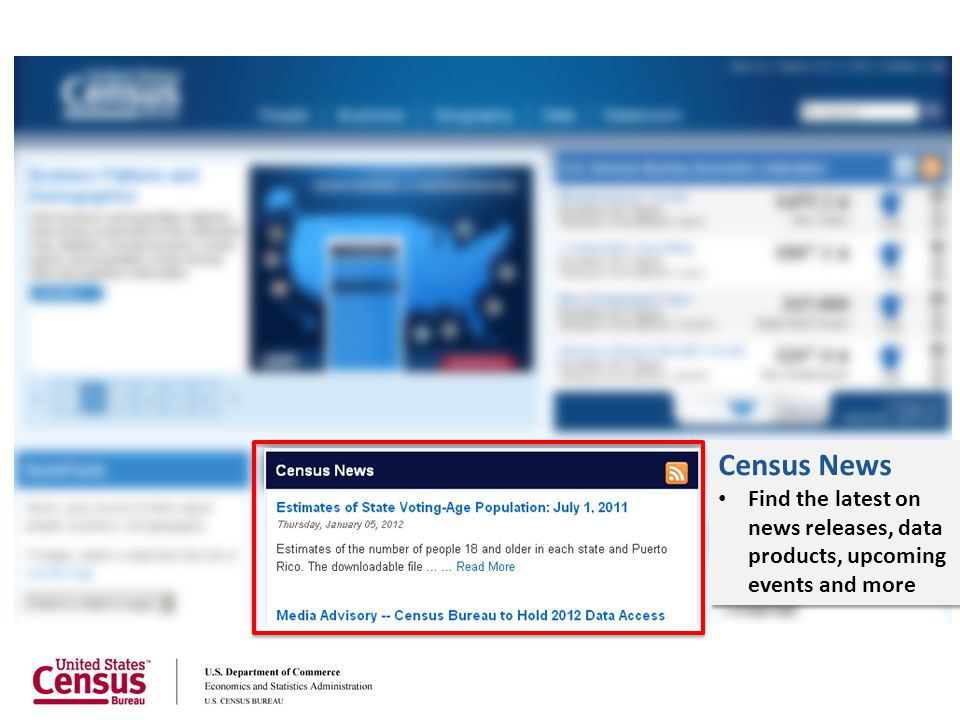 Census News Find the latest on news releases, data products, upcoming events and more