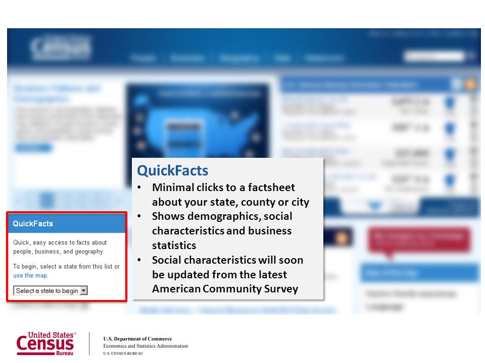 QuickFacts Minimal clicks to a factsheet about your state, county or city. Shows demographics, social characteristics and business statistics.
