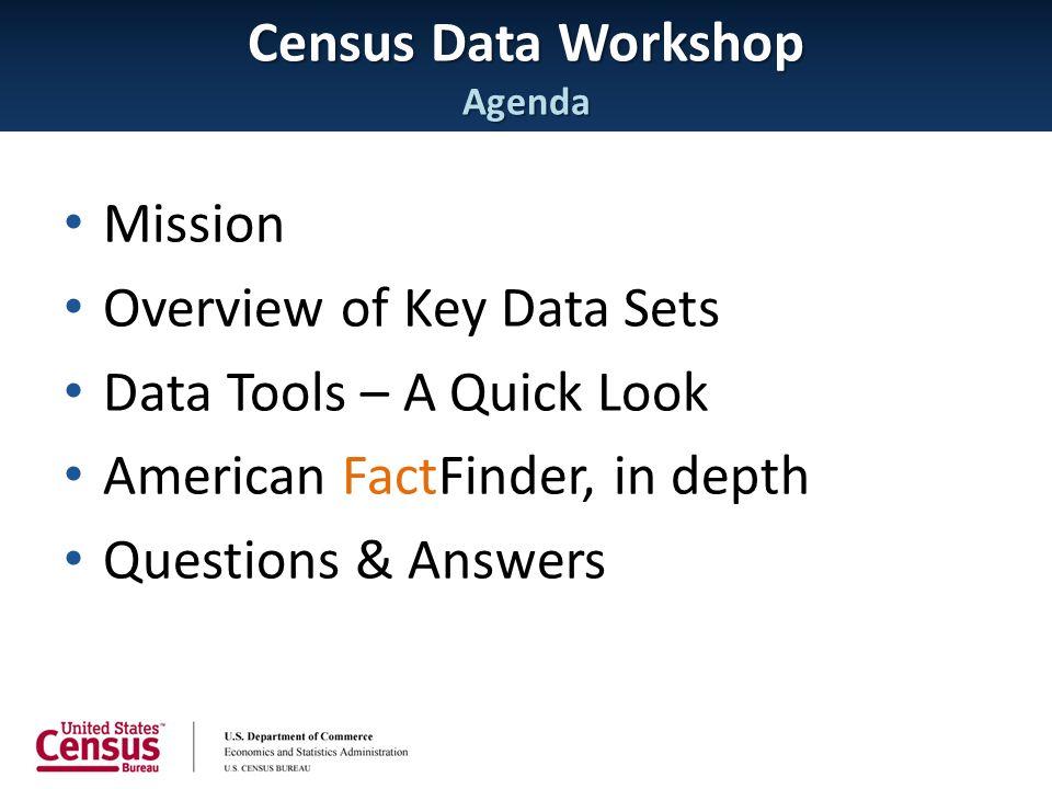 Census Data Workshop Agenda