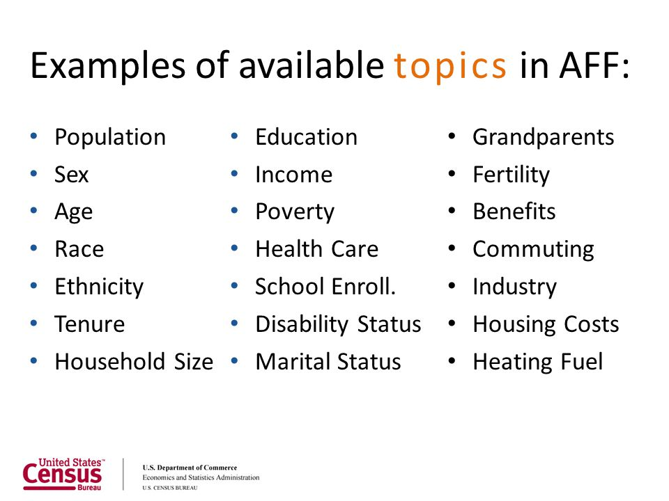 Examples of available topics in AFF: