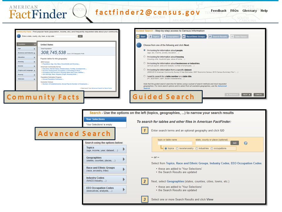 factfinder2@census.gov Community Facts Guided Search Advanced Search