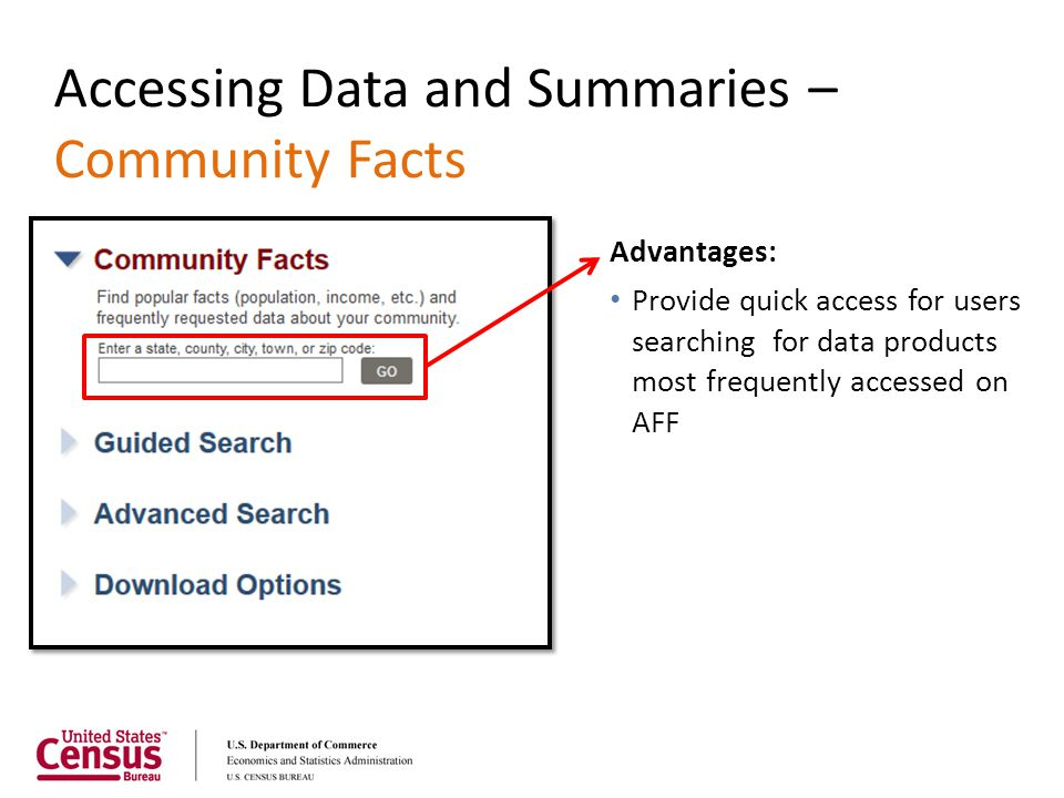 Accessing Data and Summaries – Community Facts