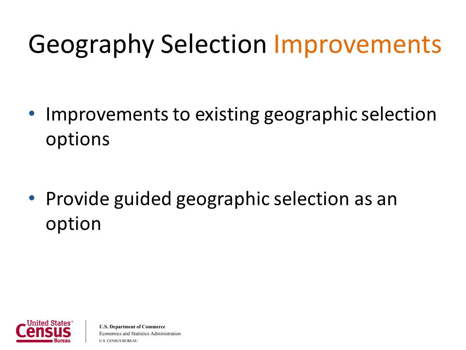 Geography Selection Improvements