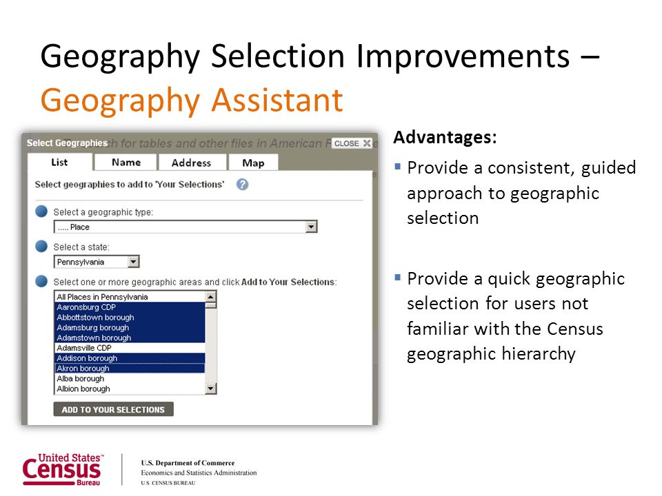 Geography Selection Improvements – Geography Assistant