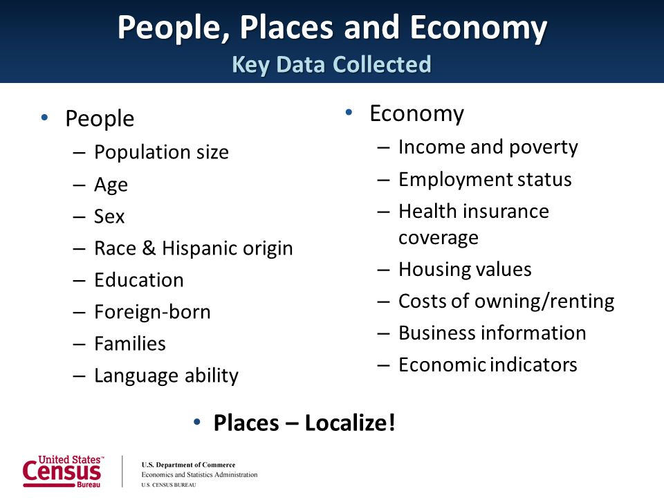 People, Places and Economy Key Data Collected