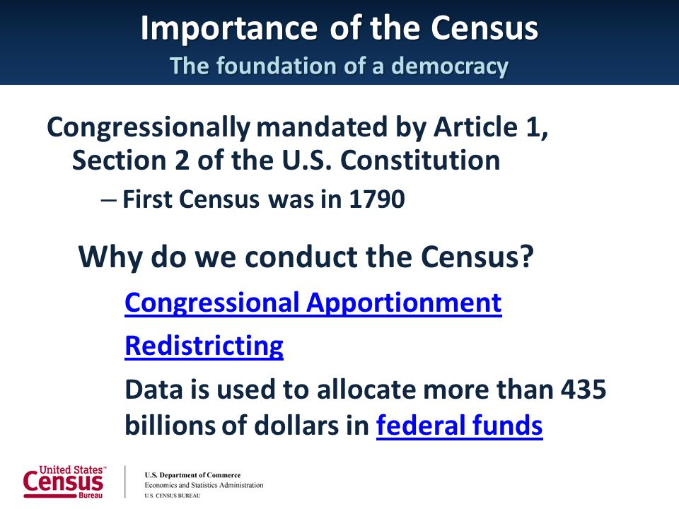 Importance of the Census The foundation of a democracy