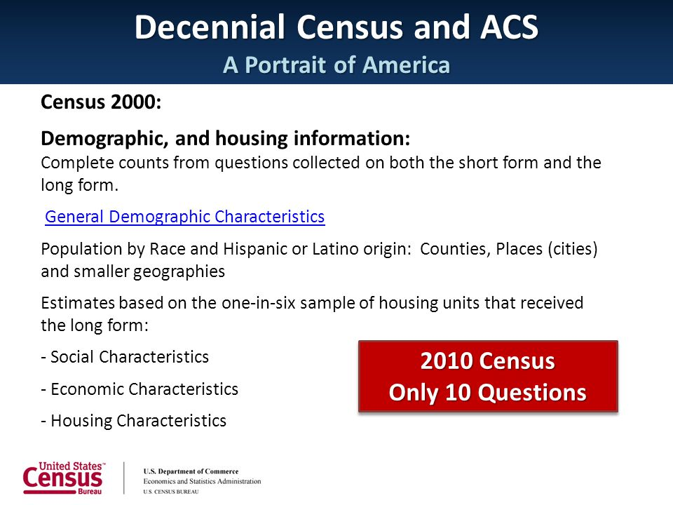 Decennial Census and ACS A Portrait of America