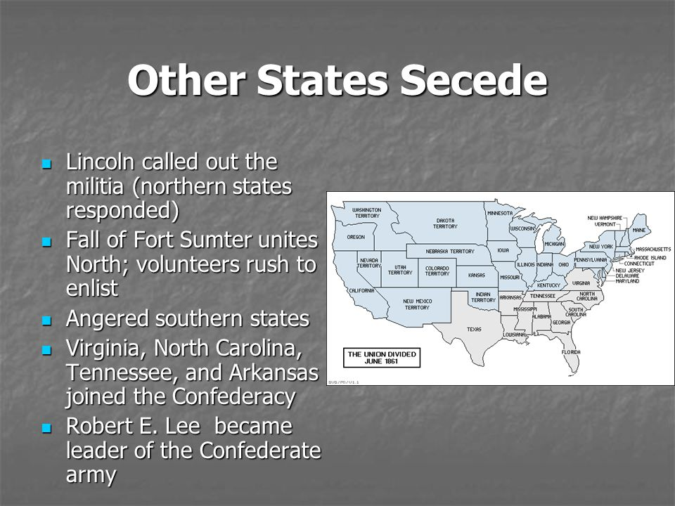 Other States Secede Lincoln called out the militia (northern states responded) Fall of Fort Sumter unites North; volunteers rush to enlist.