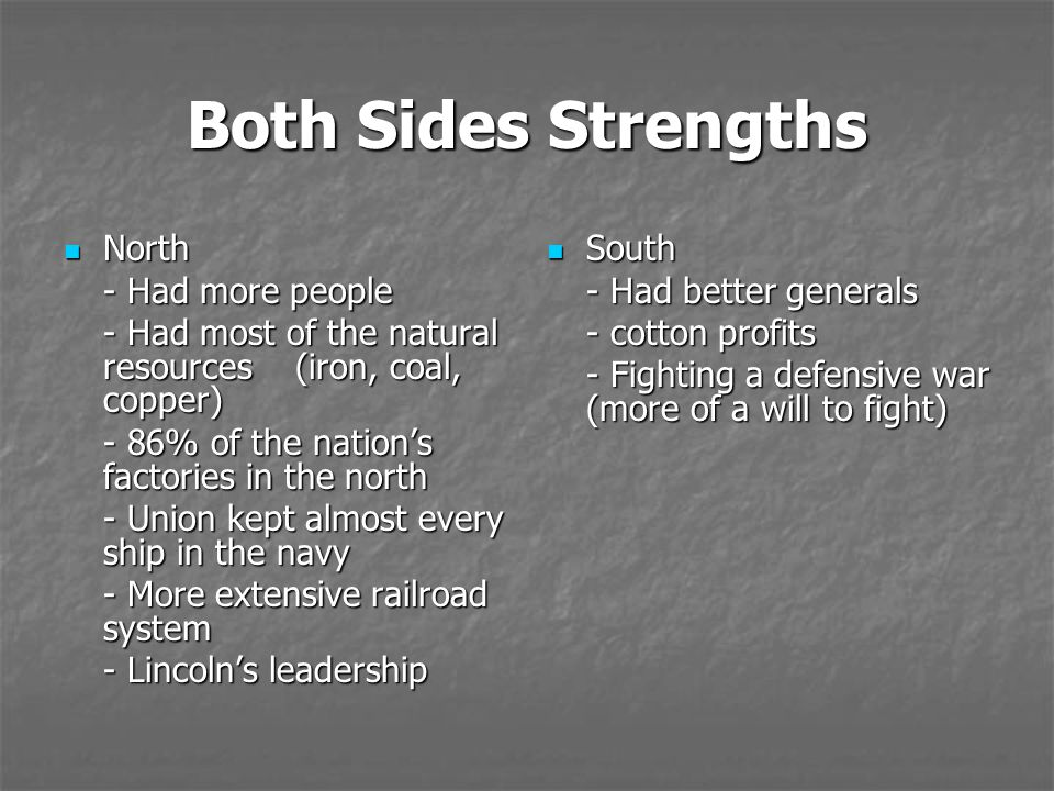 Both Sides Strengths North - Had more people