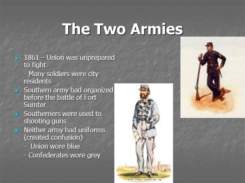 The Two Armies 1861 – Union was unprepared to fight