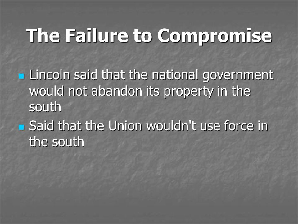 The Failure to Compromise