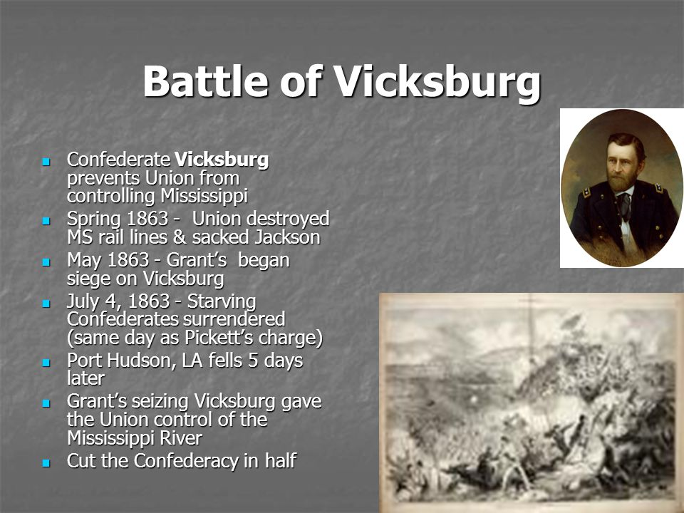 Battle of Vicksburg Confederate Vicksburg prevents Union from controlling Mississippi. Spring 1863 - Union destroyed MS rail lines & sacked Jackson.