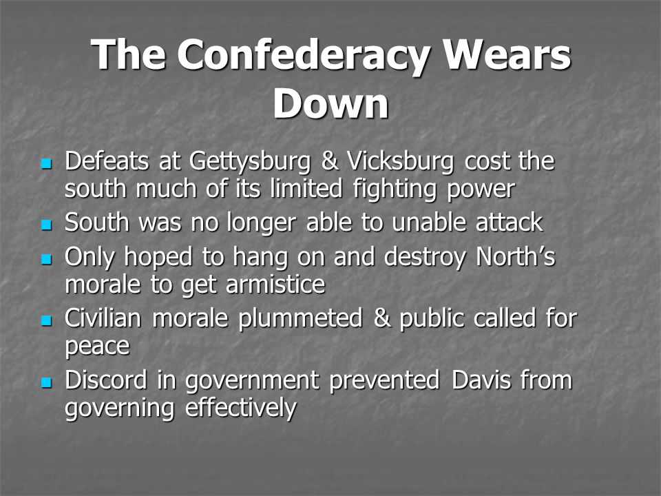 The Confederacy Wears Down