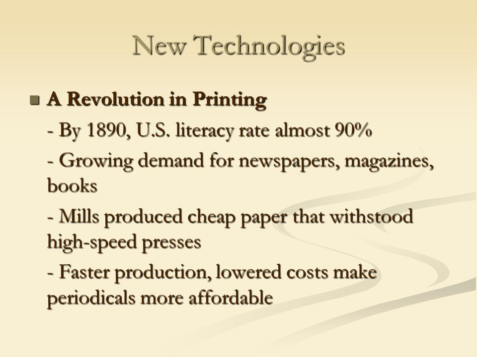New Technologies A Revolution in Printing