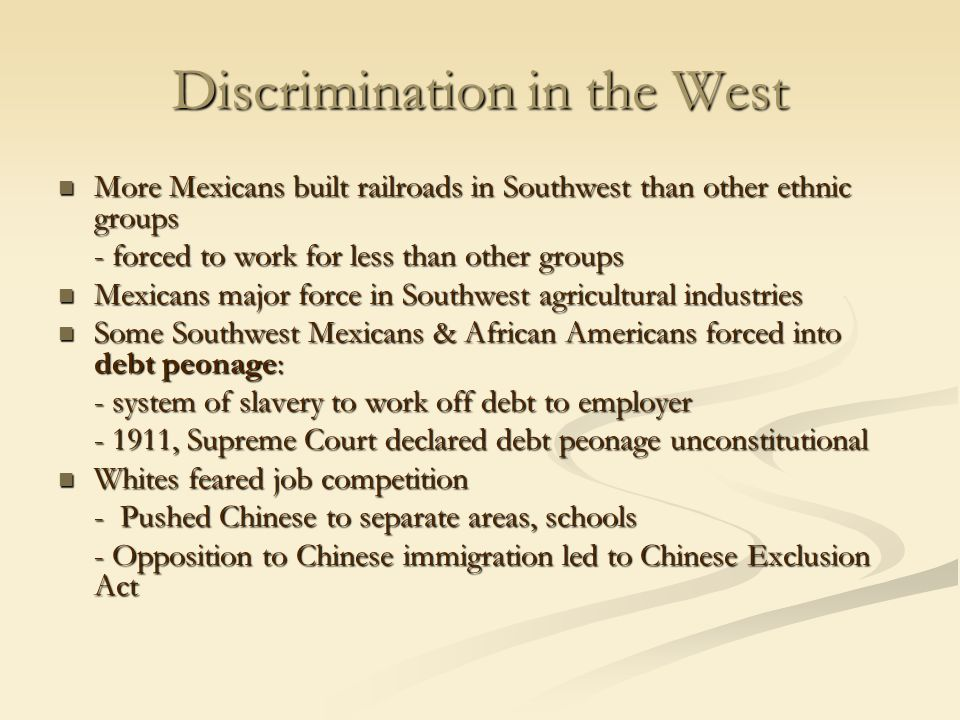 Discrimination in the West