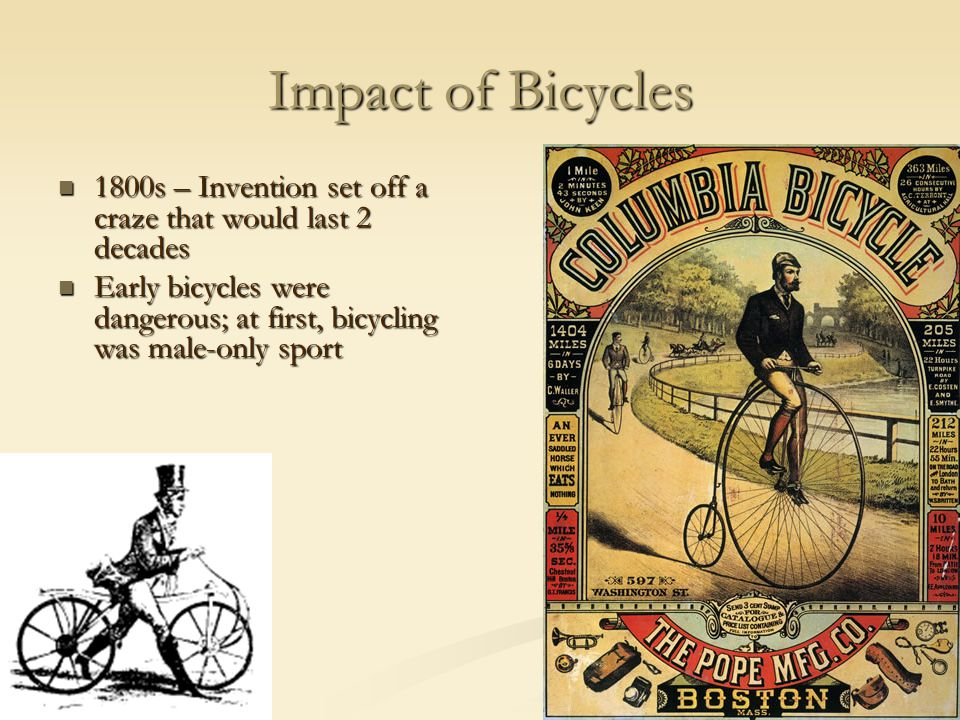 Impact of Bicycles 1800s – Invention set off a craze that would last 2 decades.