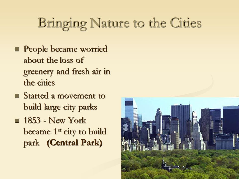 Bringing Nature to the Cities