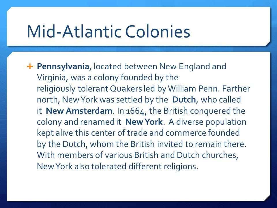 Mid-Atlantic Colonies