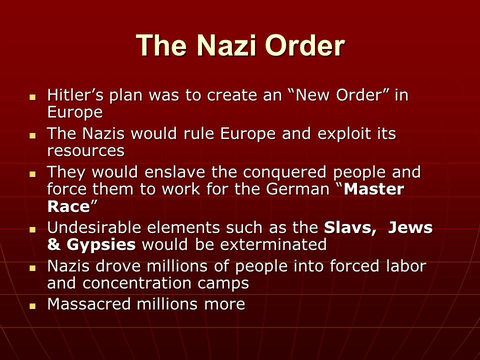 The Nazi Order Hitler's plan was to create an New Order in Europe