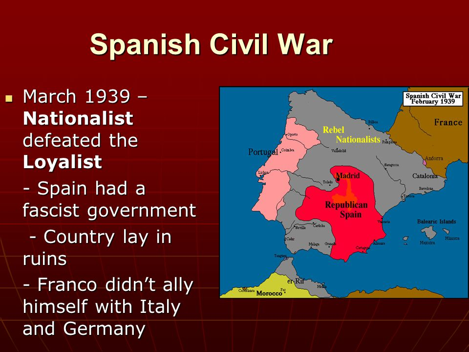 Spanish Civil War March 1939 – Nationalist defeated the Loyalist