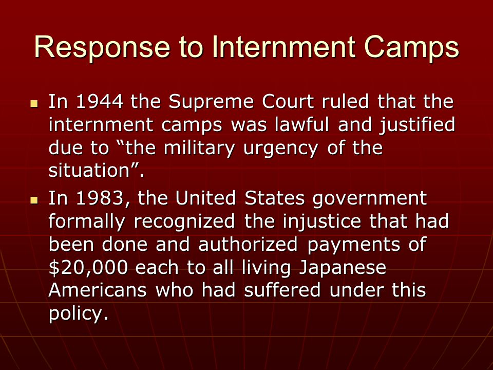 Response to Internment Camps