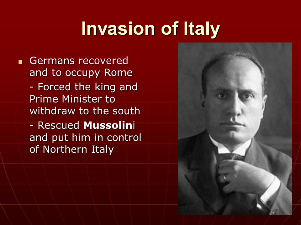 Invasion of Italy Germans recovered and to occupy Rome